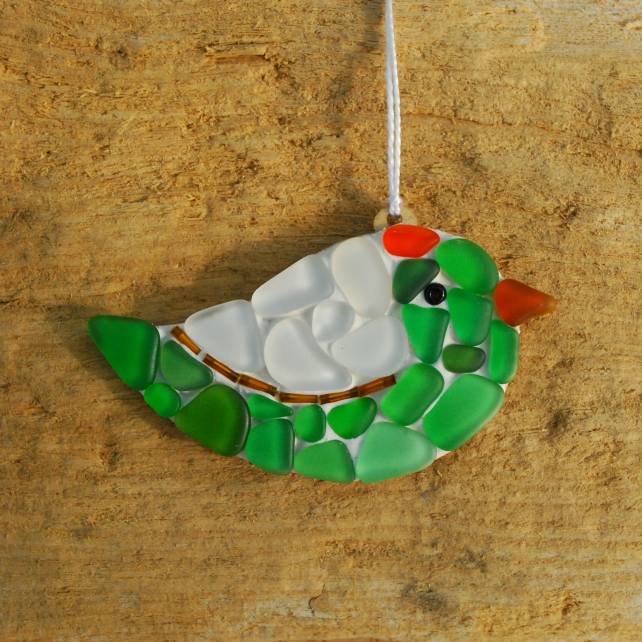 Green and white beach glass bird