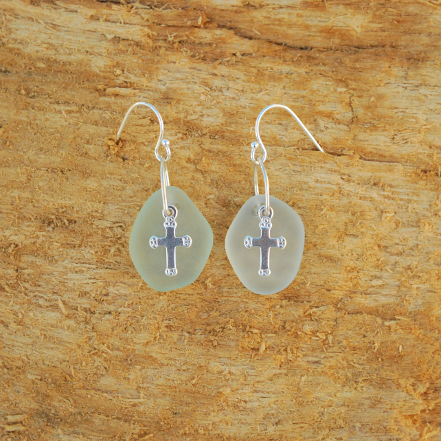 Aquamarine beach glass earrings with silver crosses