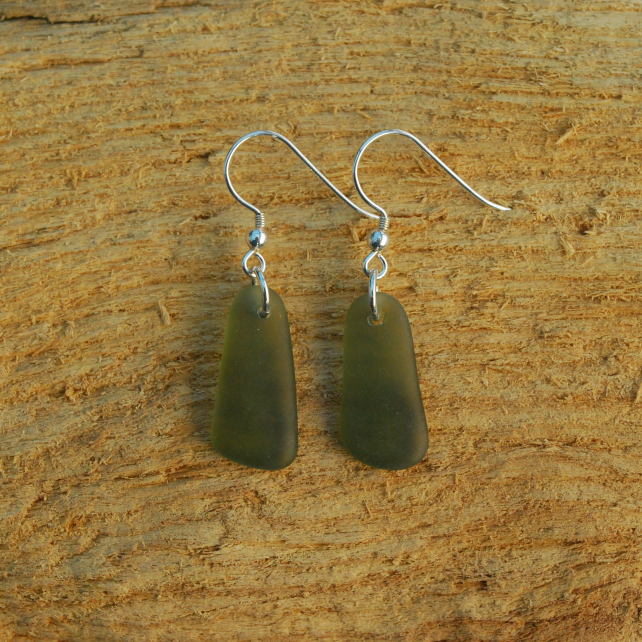 Olive green beach glass earrings