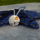 Silver beach, sea pendant, with amber sun and seagulls