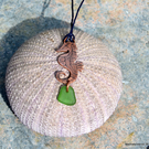Copper, and seaglass pendant