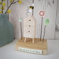 Wooden Beehive With Clay Flower Garden and Bee 'Love my Garden'