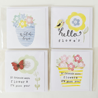 Set of 4 Mini Stamped Cards Friend Birds Flowers