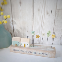 Little Wooden Houses with Clay & Button Garden 'Bloom where you are planted'