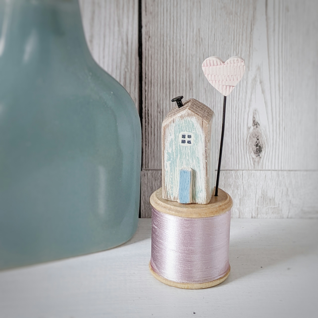 Wooden House on a Vintage Bobbin with a Clay Love Heart