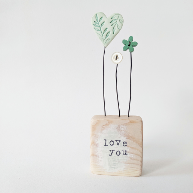 Clay Heart and Buttons in a Painted Wood Block 'Love you'
