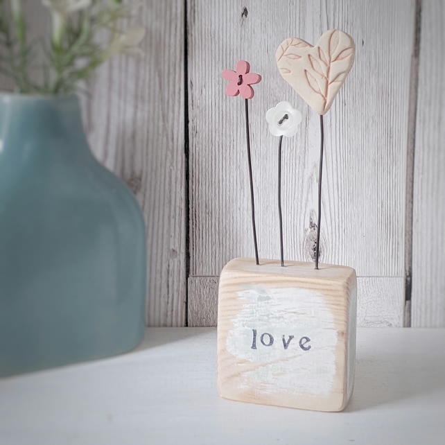 Clay Heart and Buttons in a Painted Wood Block 'Love'