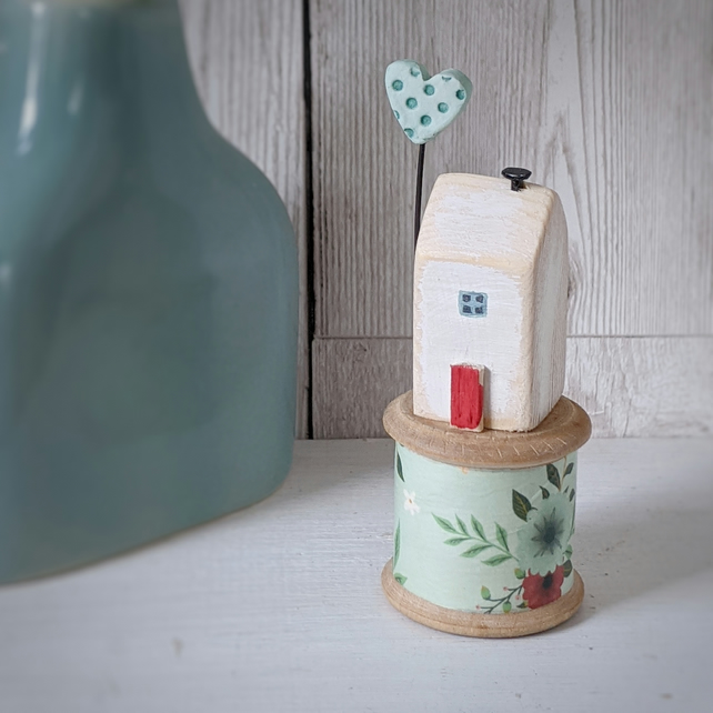 Wooden House on a Vintage Floral Bobbin with Clay Heart