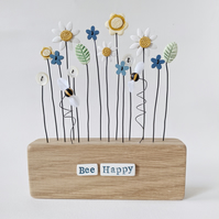 Clay and Button Daisy Flower Garden with Bees in an Oak Wood Block 'Bee Happy'
