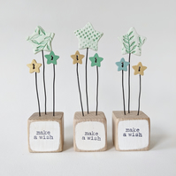Clay Star and Buttons in a Painted Wood Block 'Make a Wish'