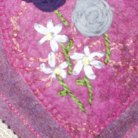 wool heart with silk detail