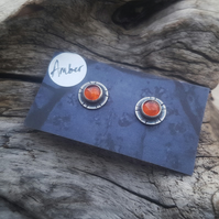 Amber tribal studs earrings