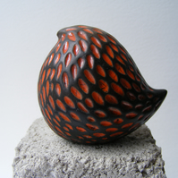 Round bird (2) orange raku fired