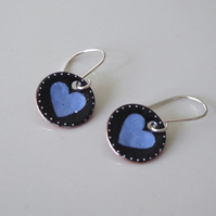 Blue and black heart earrings