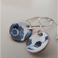 Blue and white enamelled earrings