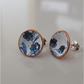 Blue and white enamelled post earrings