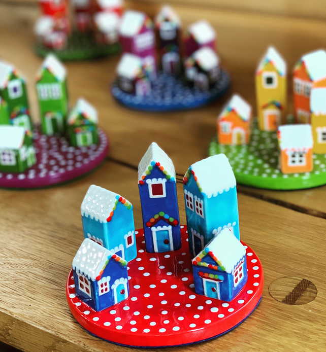 Ceramic Rainbow Winter Houses