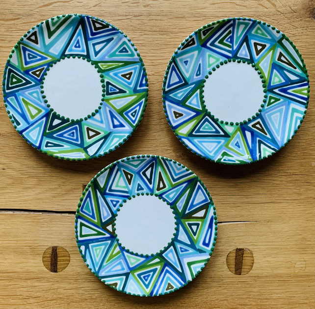 Hand Painted Mini Geometric Tapas Plate