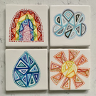 Set of 4 Ceramic Weather Coasters