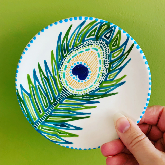 Hand Painted Peacock Feather Mini Plate