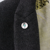 Button brooch, silver button, stitched button