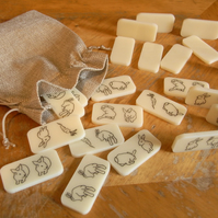 Double Bunny Dominoes Pouch vintage ivory, rabbit lovers, bunny lovers gift
