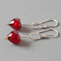 Cupid's Dart 24K Gold Lined Red Murano Heart Sterling Silver Drop Earrings