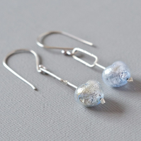 Cupid's Dart Murano Heart and Sterling Silver Arrow Drop Earrings in Ice Blue
