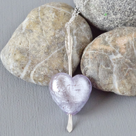 Cupid's Arrow Pale Violet Murano Heart Sterling Silver Arrow Necklace on Chain
