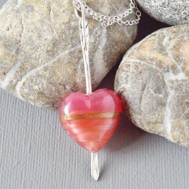 Cupid's Arrow Stripey Rose Murano Heart Sterling Silver Arrow Pendant Necklace