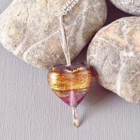 Cupid's Arrow Amethyst Gold Band Murano Heart and Arrow Sterling Silver Necklace