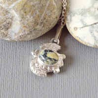 Chunky Recycled Silver Turtle Pendant Lander Turquoise On Sterling Silver chain