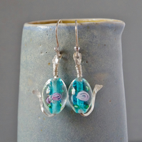 Whimsical Little Fish Hammered Sterling Silver and Lampwork Glass Drop Earrings