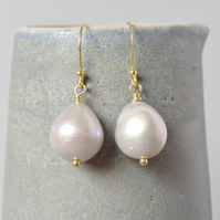 Grey Freshwater Pearl and Real Gold Vermeil Drop Earrings Inspired by Vermeer