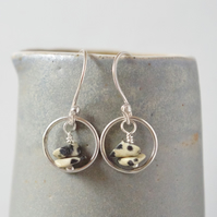 Minimalist Upcycled Dalmatian Jasper and Sterling Silver Karma Hoop Earrings