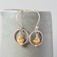 Circular Sterling Silver Golden Orange Sunstone Drop Karma Earrings