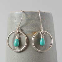 Ethical Sterling Silver and Turquoise Gemstone Circular Drop Karma Earrings