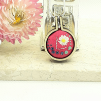 Hand embroidered mini hoop necklace personalised with the letter L size 2.5