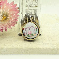 Hand embroidered mini hoop necklace personalised with the letter M 2.5 cm