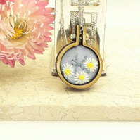Mini embroidery hoop necklace personalised with letter K 2.5cm