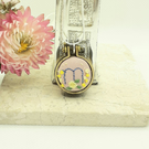 Hand embroidered mini hoop necklace personalised with the letter m