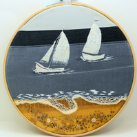 Hand embroidered boat race on 8 inch embroidery hoop