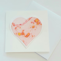 Hand marbled paper heart mother's day card