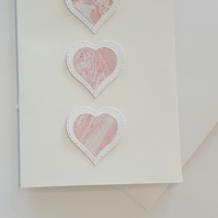 Hand marbled paper mini heart anniversary card