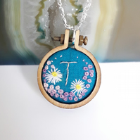 Hand embroidered mini hoop necklace personalised with the letter T