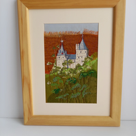 Hand embroidered picture of castle coch