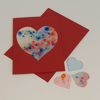 Hand marbled paper heart valentine's day card