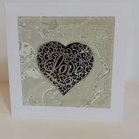 Intricate love heart marbled paper valentine's day card