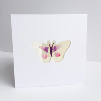 Hand embroidered cut out butterfly luxury card for any occasion  6 x 6 inches.