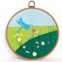 Dragon fly and flower embroidered hoop